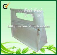 Smart white bag with zipper closure non woven small tote pouch