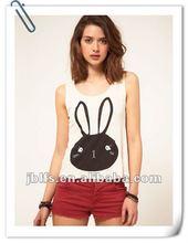 Promotional fashion design Rabbit printed low neckline sleeveless branded vest for women