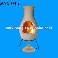 Custom made clay chiminea with rain lid