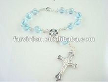new arrival decade catholic rosary bracelets with metal cross