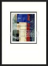 Derechos de autor en azul negro y naranja cuadro decoración