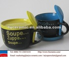 soup love ceramic bowl with spoon