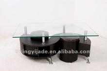 """""""S' shape glass coffee table"""