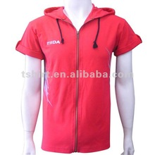 Zipper-up mens short sleeve hoodies