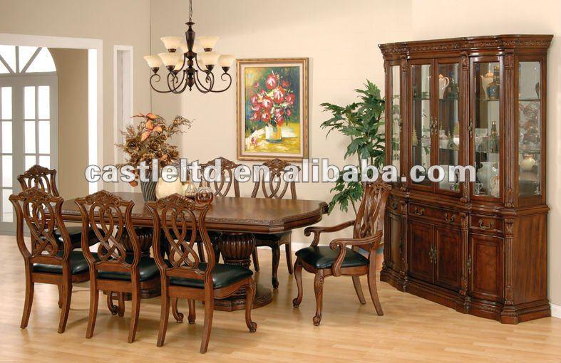 Solid wood hand carved antique dining big size room set for Real wood dining room sets