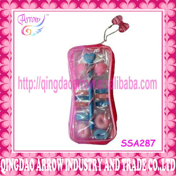 Fashion hair accessory set in PVC bag with charm
