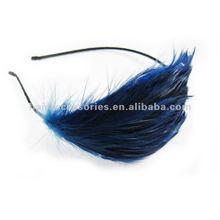Blue feather ornaments headband
