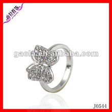 Custom latest platinum and gold butterfly ring for pretty girls