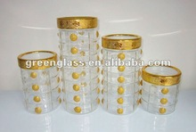 golden power round glass canister set