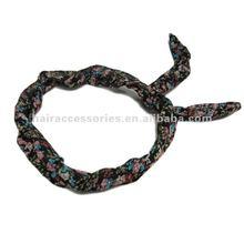 Floral print chiffon tied bow head wrap