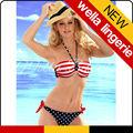 wella lingeie patriótica nova moda cinta da cabeçada de bandeira americana azul escuro swimwear do biquini