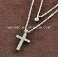 cruz elegante con el doble de las señoras collar de la joyería