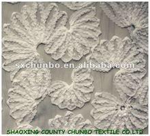 New designs seashell shape 100%polyester mesh fabric with chiffon 1cm ribbon embroidery fabric for wedding garment