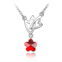 (n053094) 2012 popular rcoral red zircon flower pendant wholesale bulk jewelry necklace