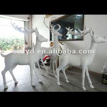 Fiber glass sculpture,Outdoor statue,Christmas white deer