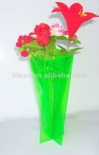 Green clear acrylic flower vases