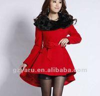 women girls ladies red coat black collar