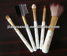 5pcs goat hair cosmetic brush with PU leather bag in one set