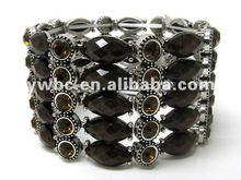 Wholesale fashion jewelry Multi crystal and fact acrylic stone link stretch bangle(B102457)
