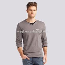OEM V neck round neck long sleeve t shirt custom design from garment factory