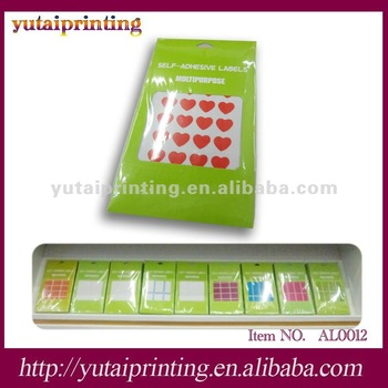 Red heart shape blank adhesive mylar labels