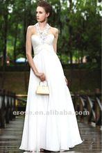 EV-H019 Classic Princess Halter Long Chiffon Formal White Evening Dress