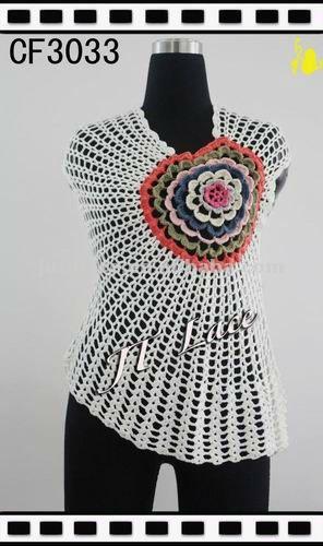 Larga crochet dise os chaleco para mujeres cord n for Disenos de chalecos