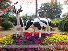 Garden and park decoration fiberglass cow
