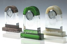 Colourful crystal glass desk clock China factory supply