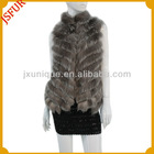 2012 Women's fashion genuine silver fox fur vest