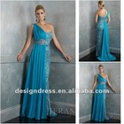 New Fashion Elegant Chiffon And Lace One Shoulder Crystal Blue Evening Dress 2014