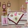Embroidery Ladybug & Flowers Baby Bedding Set
