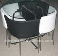 vidro e metal mesa de jantar e cadeiras set