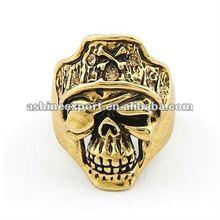 2012 latest antique gold pirate design ring