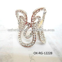 Fashion crystal rhinestone with pave setting metal with butterfly style cluster ring RG-12228