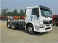 China mejor camión tractor sinotruk howo 6x4 371hp 40 toneladas de cabeza tractora con 3 ejes 40t-60t cama plana semi-remolque de contenedores