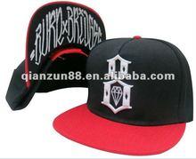 2012 fashion trendy flat brim snapback baseball cap with emrboidery logo and print under brim