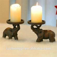 fabbrica customed casa decorazione in resina elefante supporto di candela