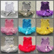 Hot sale baby girls modern party wear dress rosette dress of rich colors in stock
