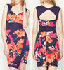 Elegant flower printed cut out back office dress for lady