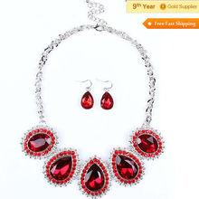 Latest Design Hot Sell Women Fit Rhinestone Diamond Necklace Jewelry Set