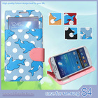 factory manufacture mobile phone leather case with dolphin printing for samsung galaxy S4