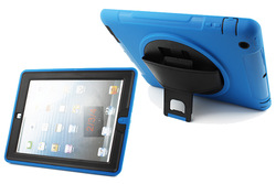 Dual layers protective 360 degree rotate case for iPad 3 iPad 4 with leather hand strap