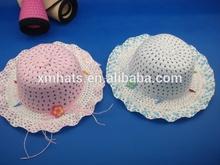 new design summer beach children straw hat with flower
