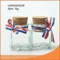 nice forma quadrada de vidro mini pote de especiarias com cortiça