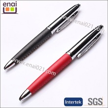 2015 high quallity leather on grip metal ball pen parts to marketing