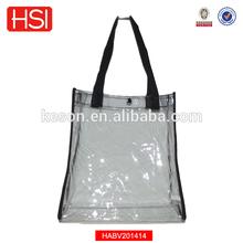 2015 New Clear Black Transparent See-thru PVC Plastic Shopping Bag Tote Bag