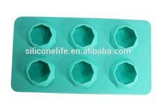 FDA Custom logo 6pcsnon-stick silicone ice cube maker ( diamond shape )