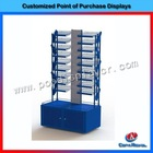 Free standing metal floor nail polish display stand with cabinet base