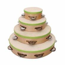 child Wood Shell Sheep Skin Head mini Tambourine Hand Drum with Bells